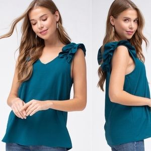 Tops - Dark Turquoise sleeveless top- size medium